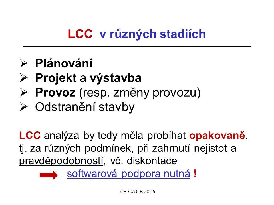 LCC v různých stadiích  Plánování  Projekt a výstavba  Provoz (resp.