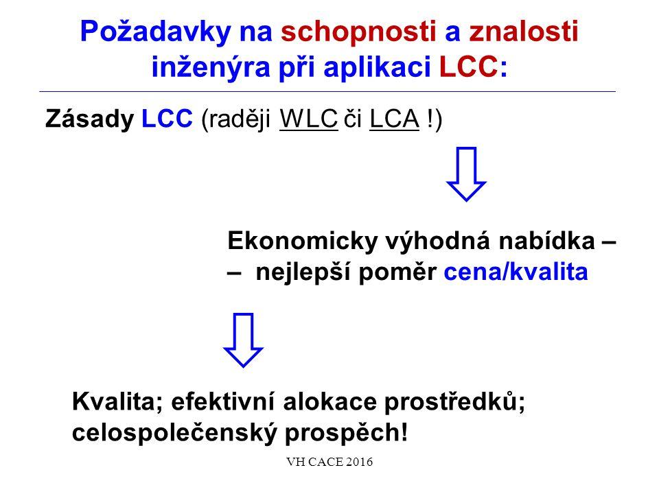 Požadavky na schopnosti a znalosti inženýra při aplikaci LCC: Zásady LCC (raději WLC či LCA !) VH CACE 2016 Ekonomicky výhodná nabídka – – nejlepší poměr cena/kvalita Kvalita; efektivní alokace prostředků; celospolečenský prospěch!