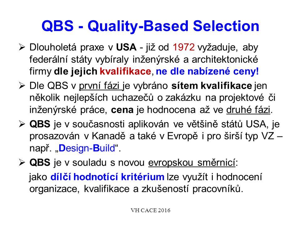 QBS - Quality-Based Selection  Dlouholetá praxe v USA - již od 1972 vyžaduje, aby federální státy vybíraly inženýrské a architektonické firmy dle jejich kvalifikace, ne dle nabízené ceny.