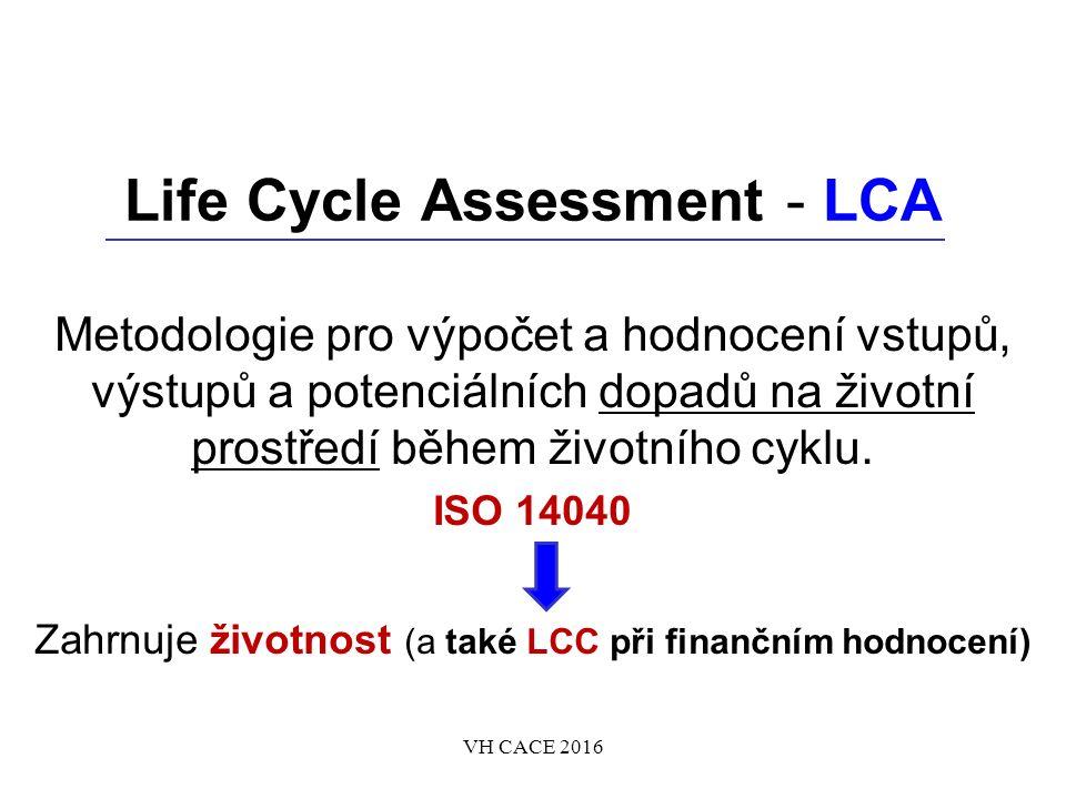 Life Cycle Assessment - LCA Metodologie pro výpočet a hodnocení vstupů, výstupů a potenciálních dopadů na životní prostředí během životního cyklu.