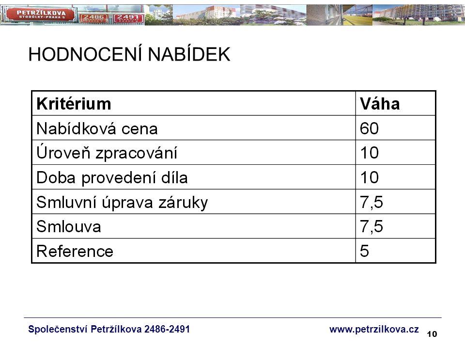 10 HODNOCENÍ NABÍDEK Společenství Petržílkova 2486-2491 www.petrzilkova.cz