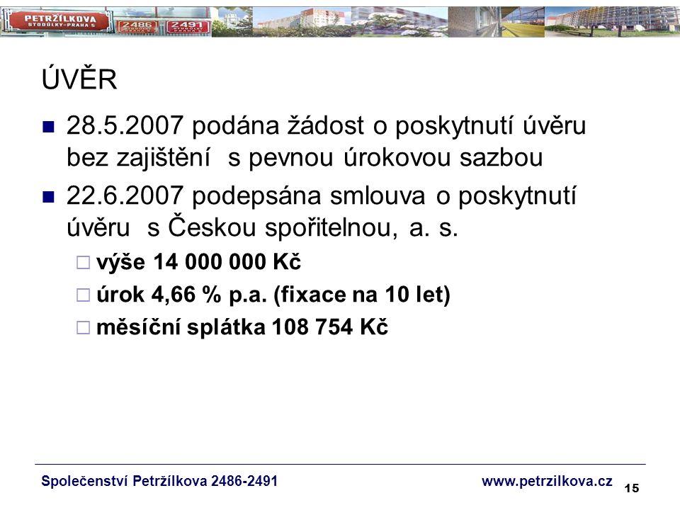 15 ÚVĚR 28.5.2007 podána žádost o poskytnutí úvěru bez zajištění s pevnou úrokovou sazbou 22.6.2007 podepsána smlouva o poskytnutí úvěru s Českou spořitelnou, a.