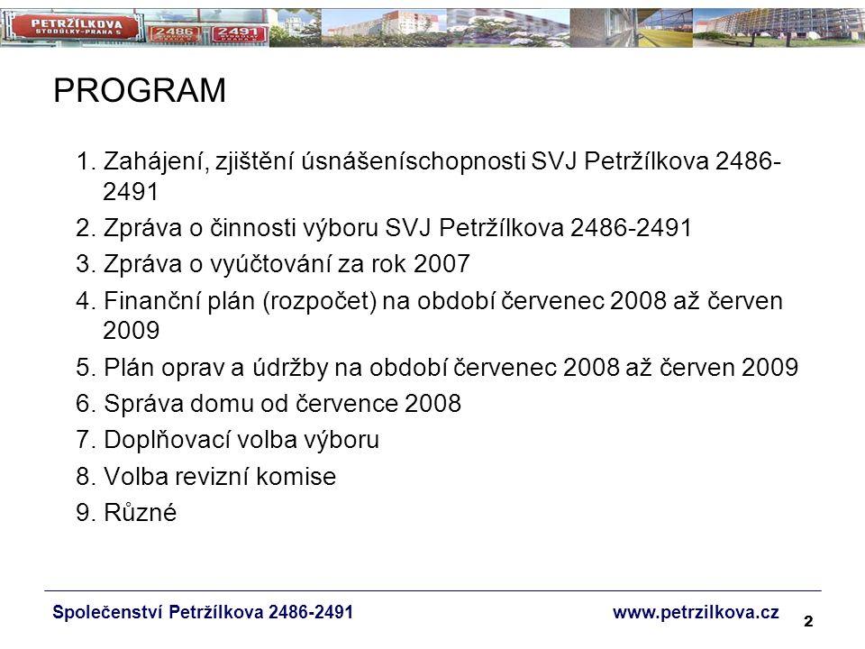 53 ÚDRŽBA DOMU Společenství Petržílkova 2486-2491 www.petrzilkova.cz Nejjednodušší způsob kontroly adekvátnosti čerpání je průběžné sledování a projednávání plánovaných a provedených oprav na schůzích výboru (s uvedením v zápisu).