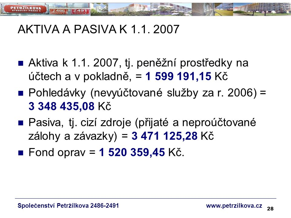 28 AKTIVA A PASIVA K 1.1. 2007 Aktiva k 1.1. 2007, tj.