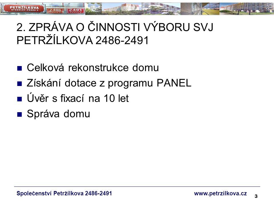 14 PODPORA V PROGRAMU PANEL 25.6.2007 podána žádost o poskytnutí podpory v Programu na podporu oprav bytových domů postavených panelovou technologií – PANEL č.