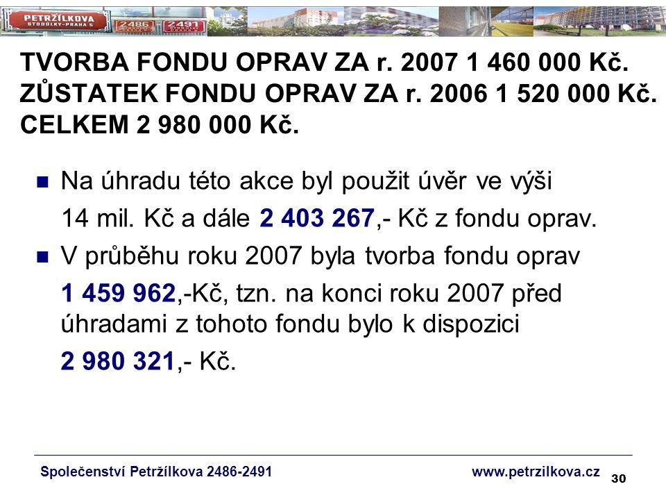 30 TVORBA FONDU OPRAV ZA r. 2007 1 460 000 Kč. ZŮSTATEK FONDU OPRAV ZA r.