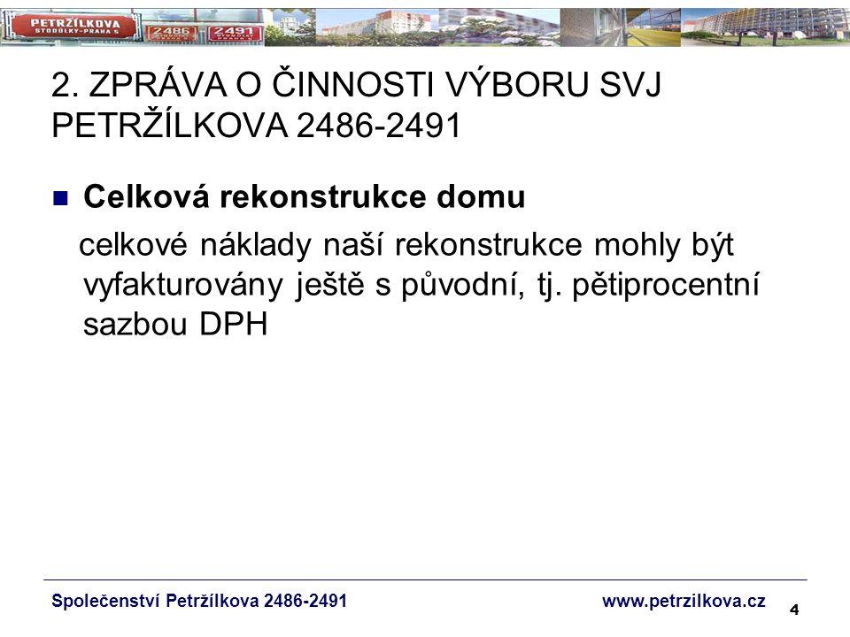 45 NÁVRH USNESENÍ Společenství Petržílkova 2486-2491 www.petrzilkova.cz Pokud bude rozdíl mezi součtem vodoměrů na SV v bytech a náměrem na hlavním vodoměru větší než 10 %, budou náklady na SV rozúčtovány takto: náměry na byt.