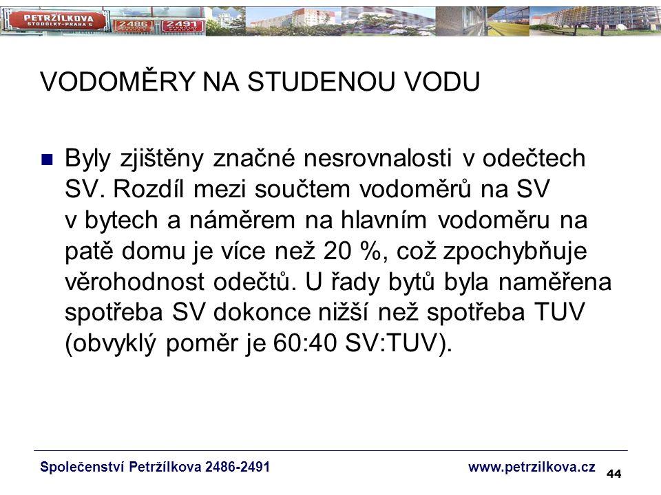 44 VODOMĚRY NA STUDENOU VODU Společenství Petržílkova 2486-2491 www.petrzilkova.cz Byly zjištěny značné nesrovnalosti v odečtech SV.