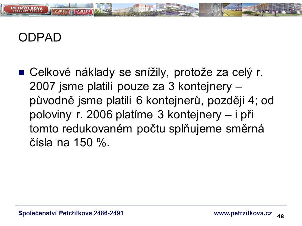 48 ODPAD Společenství Petržílkova 2486-2491 www.petrzilkova.cz Celkové náklady se snížily, protože za celý r.