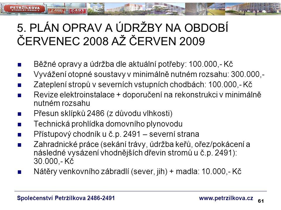61 5. PLÁN OPRAV A ÚDRŽBY NA OBDOBÍ ČERVENEC 2008 AŽ ČERVEN 2009 Běžné opravy a údržba dle aktuální potřeby: 100.000,- Kč Vyvážení otopné soustavy v m