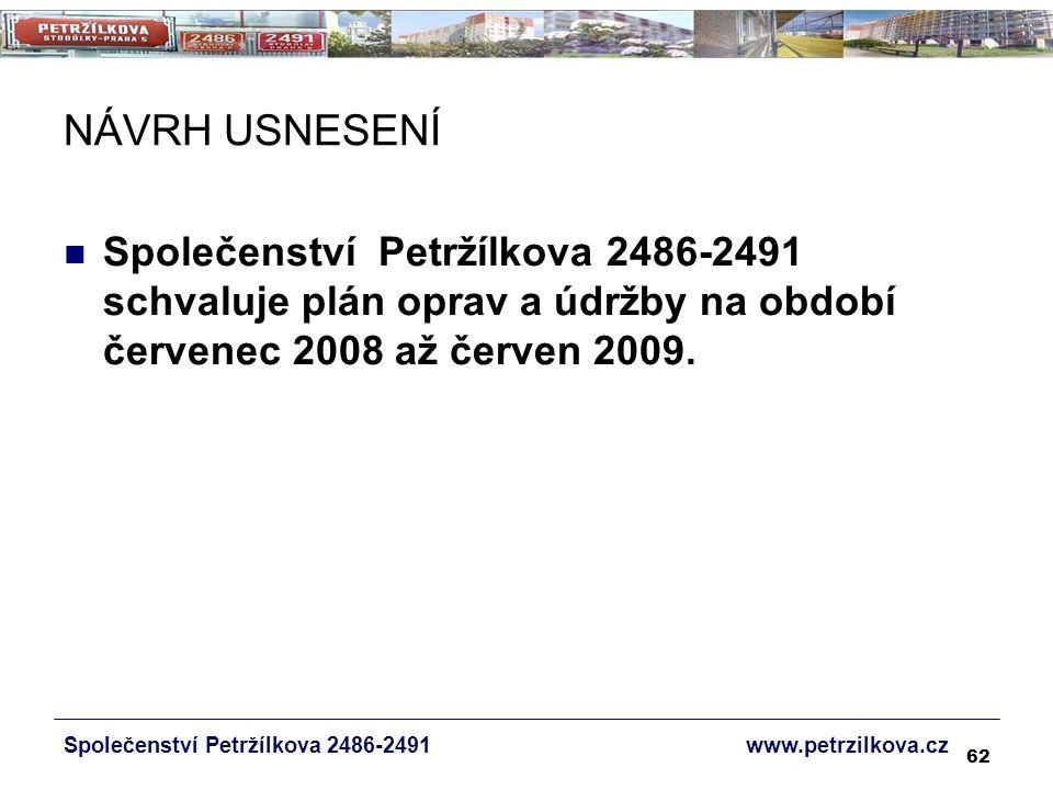62 NÁVRH USNESENÍ Společenství Petržílkova 2486-2491 www.petrzilkova.cz Společenství Petržílkova 2486-2491 schvaluje plán oprav a údržby na období červenec 2008 až červen 2009.