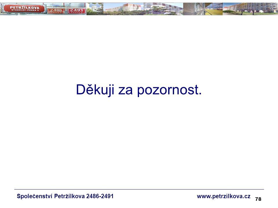 78 Společenství Petržílkova 2486-2491 www.petrzilkova.cz Děkuji za pozornost.