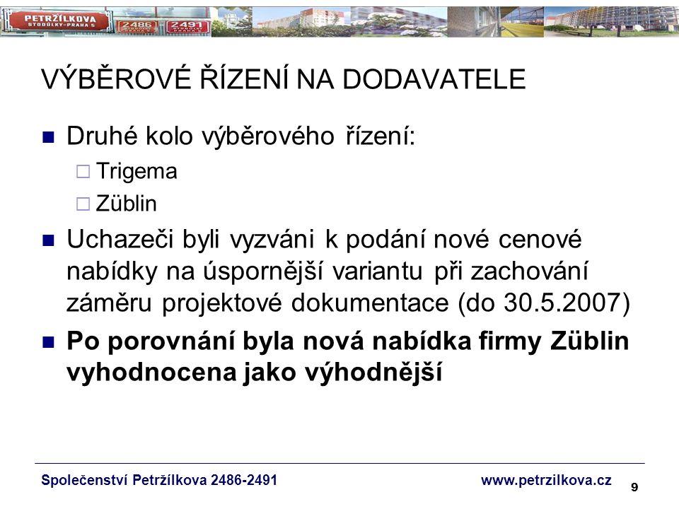 9 VÝBĚROVÉ ŘÍZENÍ NA DODAVATELE Druhé kolo výběrového řízení:  Trigema  Züblin Uchazeči byli vyzváni k podání nové cenové nabídky na úspornější variantu při zachování záměru projektové dokumentace (do 30.5.2007) Po porovnání byla nová nabídka firmy Züblin vyhodnocena jako výhodnější Společenství Petržílkova 2486-2491 www.petrzilkova.cz