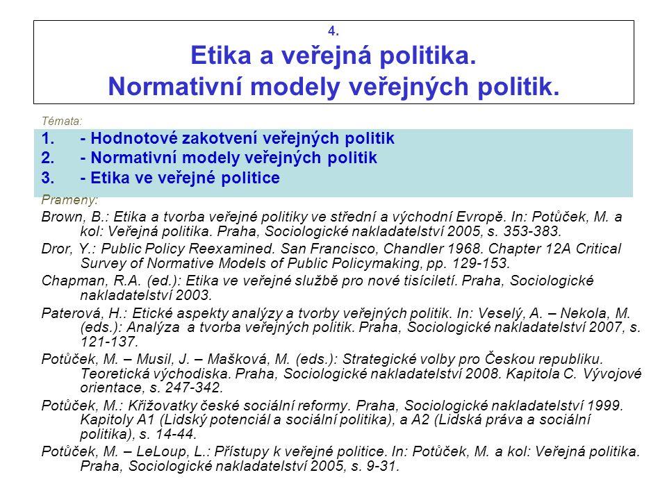 4. Etika a veřejná politika. Normativní modely veřejných politik.