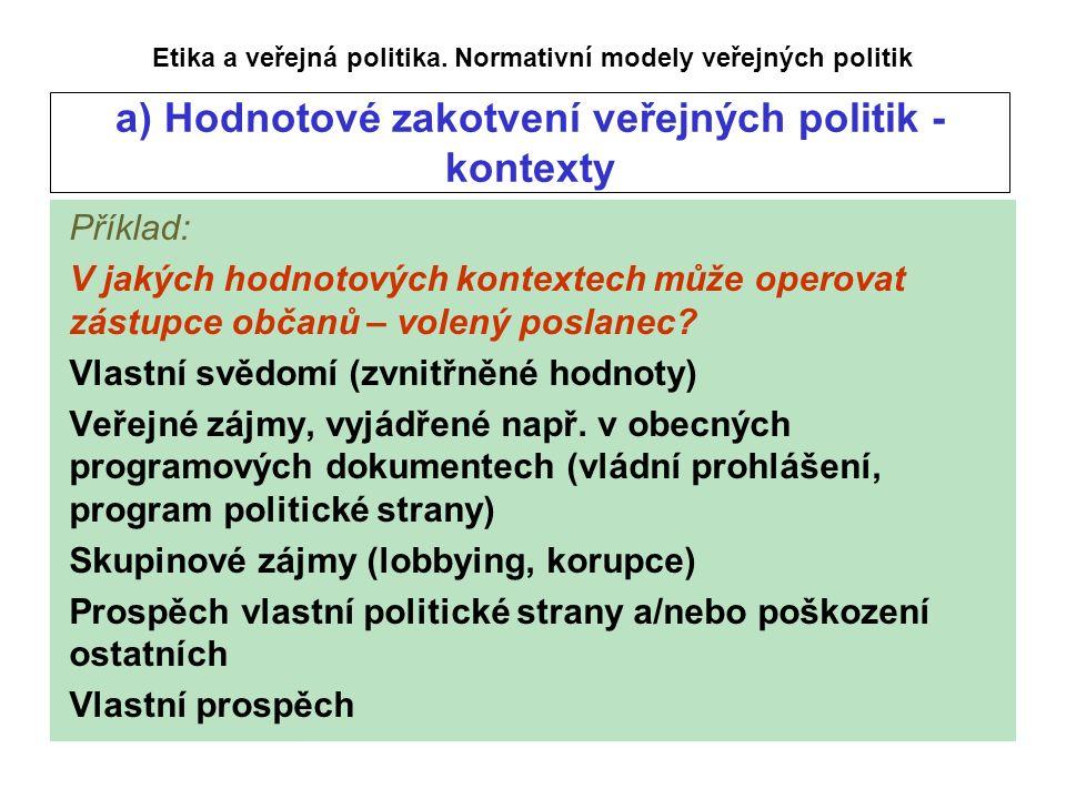 a) Hodnotové zakotvení veřejných politik - kontexty Etika a veřejná politika.