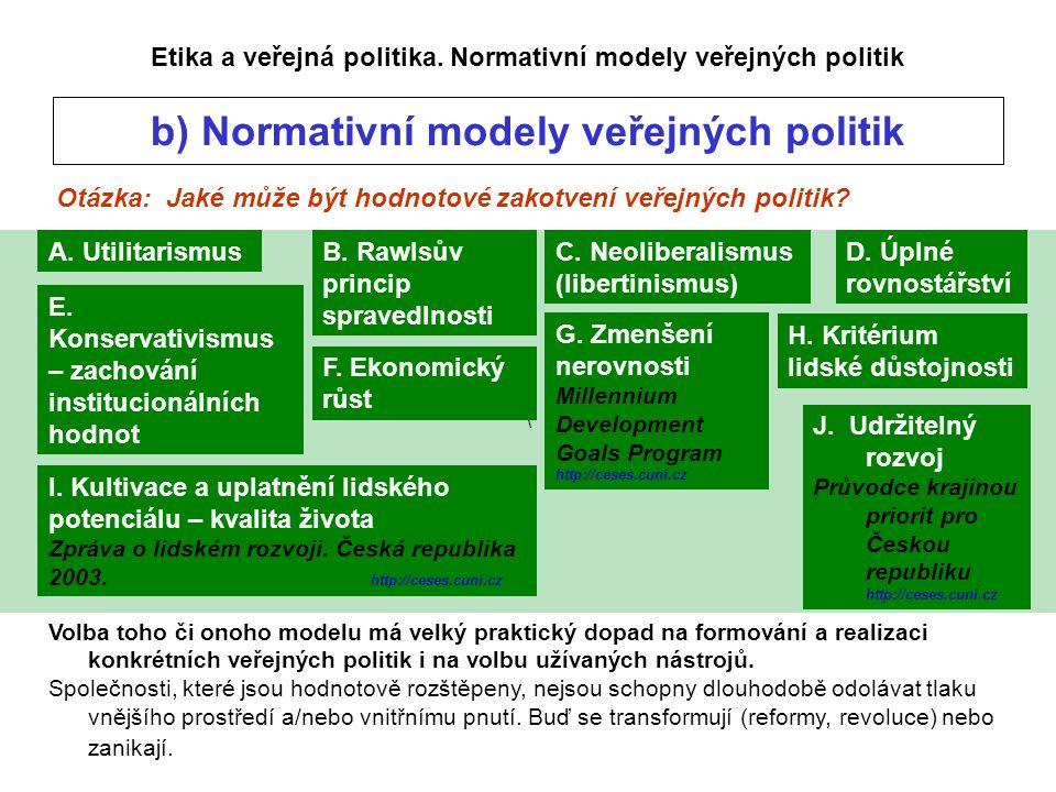 \ Otázka: Jaké může být hodnotové zakotvení veřejných politik.