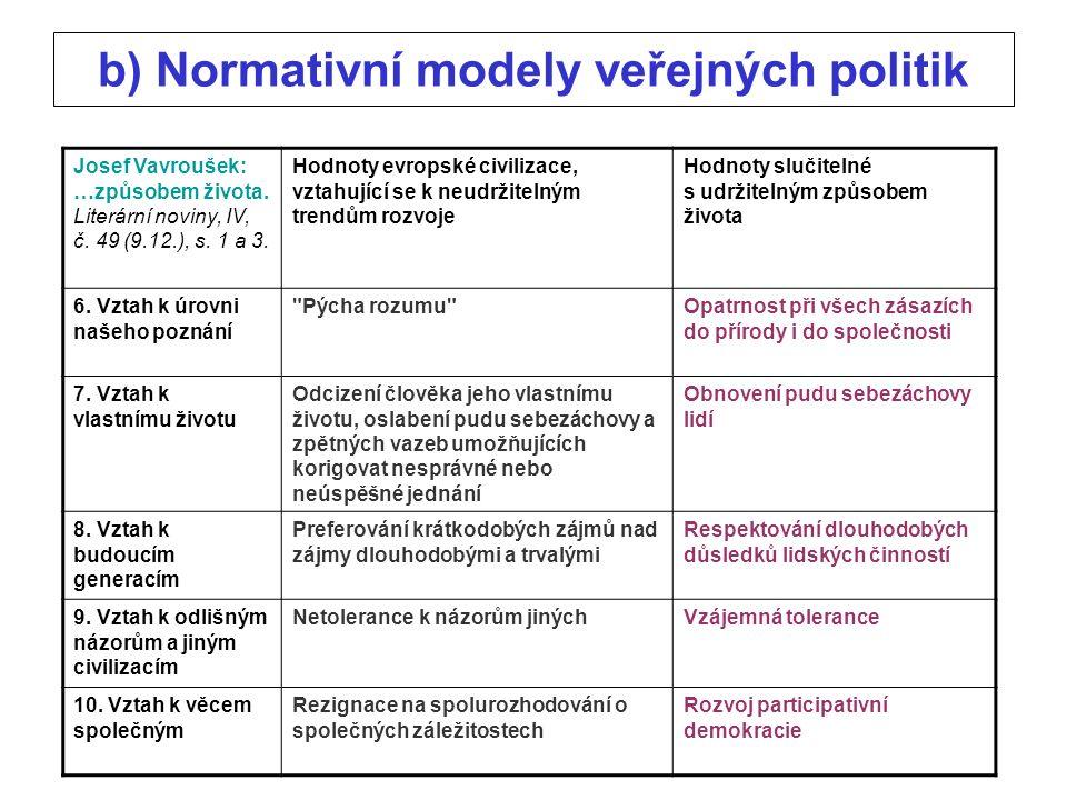 b) Normativní modely veřejných politik Josef Vavroušek: …způsobem života.