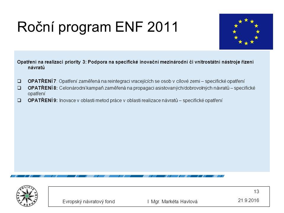 Roční program ENF 2011 Opatření na realizaci priority 3: Podpora na specifické inovační mezinárodní či vnitrostátní nástroje řízení návratů  OPATŘENÍ 7: Opatření zaměřená na reintegraci vracejících se osob v cílové zemi – specifické opatření  OPATŘENÍ 8: Celonárodní kampaň zaměřená na propagaci asistovaných/dobrovolných návratů – specifické opatření  OPATŘENÍ 9: Inovace v oblasti metod práce v oblasti realizace návratů – specifické opatření 21.9.2016 13 Evropský návratový fondl Mgr.