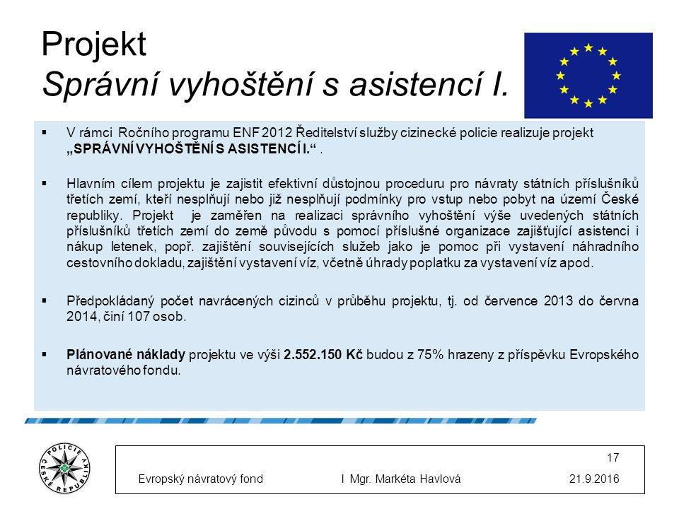 Projekt Správní vyhoštění s asistencí I.