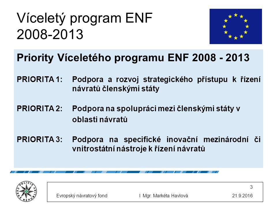 Víceletý program ENF 2008-2013 Priority Víceletého programu ENF 2008 - 2013 PRIORITA 1:Podpora a rozvoj strategického přístupu k řízení návratů členskými státy PRIORITA 2:Podpora na spolupráci mezi členskými státy v oblasti návratů PRIORITA 3: Podpora na specifické inovační mezinárodní či vnitrostátní nástroje k řízení návratů 21.9.2016Evropský návratový fondl Mgr.