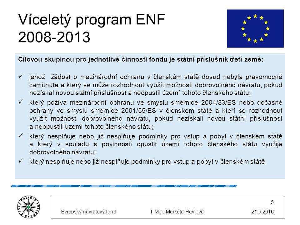 Cílovou skupinou pro jednotlivé činnosti fondu je státní příslušník třetí země: jehož žádost o mezinárodní ochranu v členském státě dosud nebyla pravomocně zamítnuta a který se může rozhodnout využít možnosti dobrovolného návratu, pokud nezískal novou státní příslušnost a neopustil území tohoto členského státu; který požívá mezinárodní ochranu ve smyslu směrnice 2004/83/ES nebo dočasné ochrany ve smyslu směrnice 2001/55/ES v členském státě a kteří se rozhodnout využít možnosti dobrovolného návratu, pokud nezískali novou státní příslušnost a neopustili území tohoto členského státu; který nesplňuje nebo již nesplňuje podmínky pro vstup a pobyt v členském státě a který v souladu s povinností opustit území tohoto členského státu využije dobrovolného návratu; který nesplňuje nebo již nesplňuje podmínky pro vstup a pobyt v členském státě.
