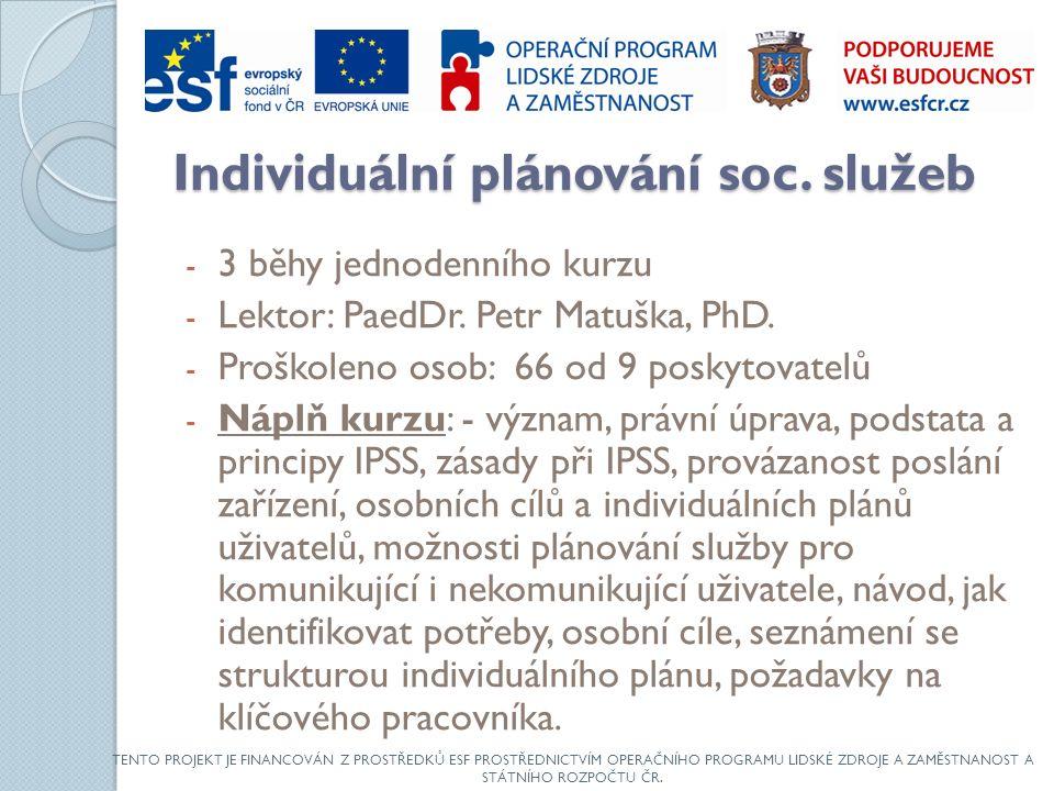 Individuální plánování soc. služeb - 3 běhy jednodenního kurzu - Lektor: PaedDr.