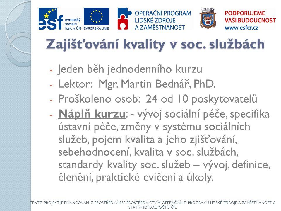 Zajišťování kvality v soc. službách - Jeden běh jednodenního kurzu - Lektor: Mgr.