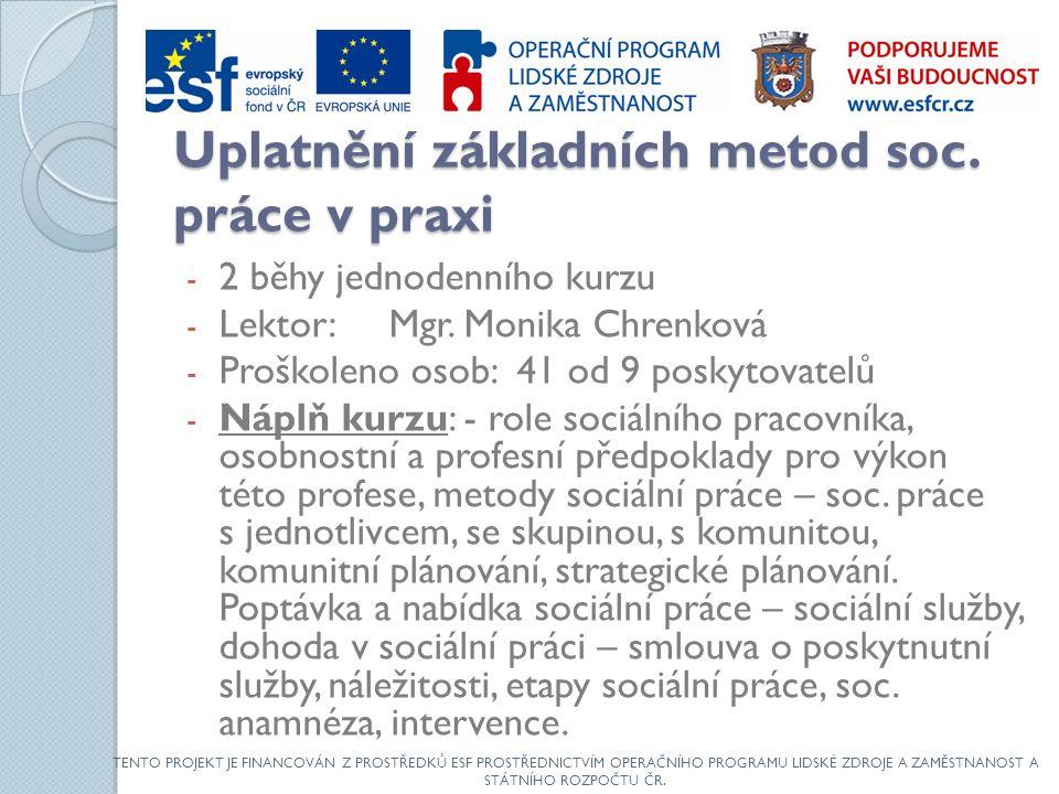 Uplatnění základních metod soc. práce v praxi - 2 běhy jednodenního kurzu - Lektor: Mgr.
