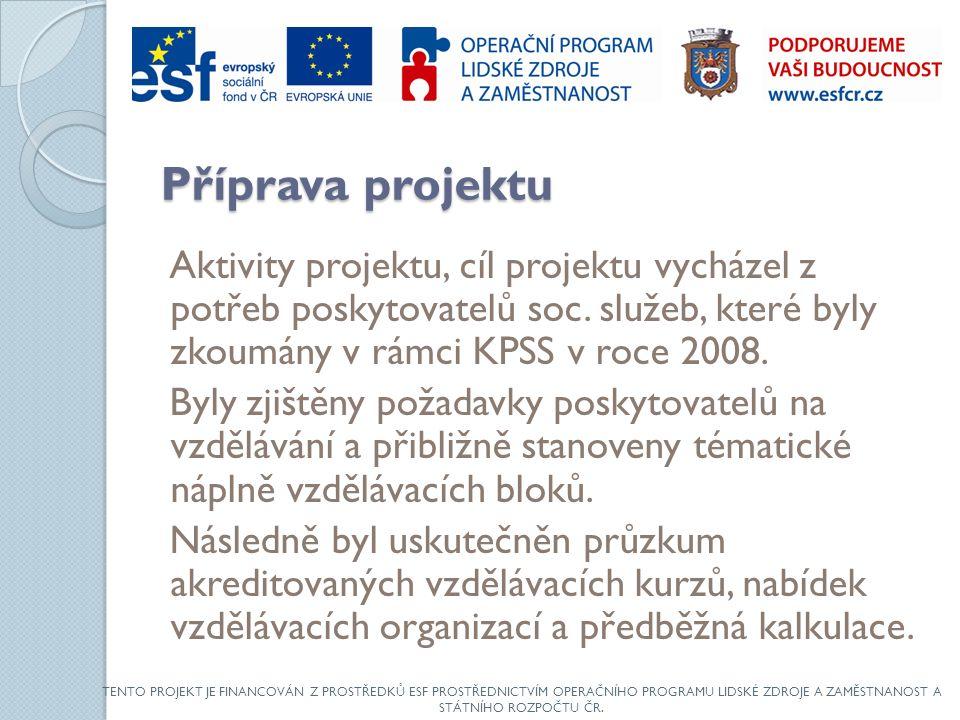 Příprava projektu Aktivity projektu, cíl projektu vycházel z potřeb poskytovatelů soc.