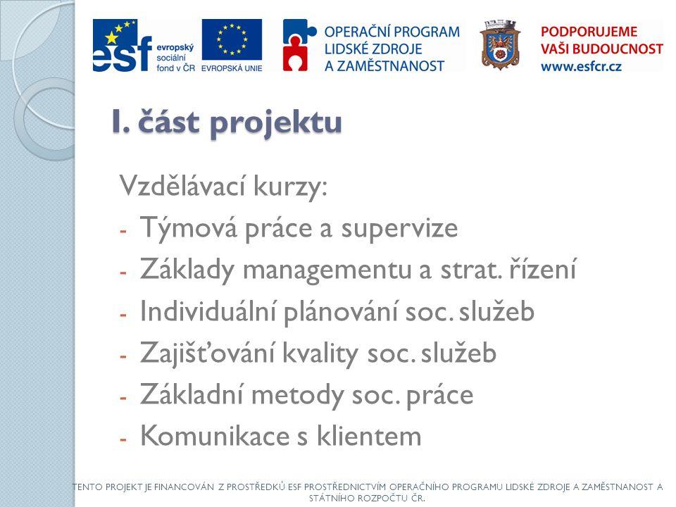 I. část projektu Vzdělávací kurzy: - Týmová práce a supervize - Základy managementu a strat.