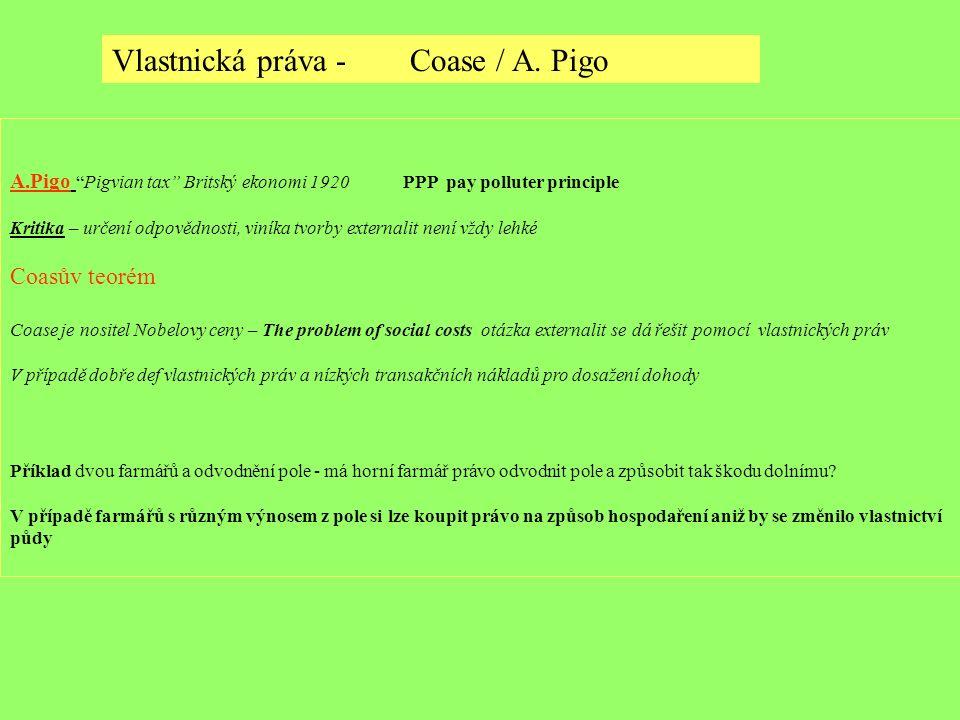"""A.Pigo """"Pigvian tax"""" Britský ekonomi 1920 PPP pay polluter principle Kritika – určení odpovědnosti, viníka tvorby externalit není vždy lehké Coasův te"""