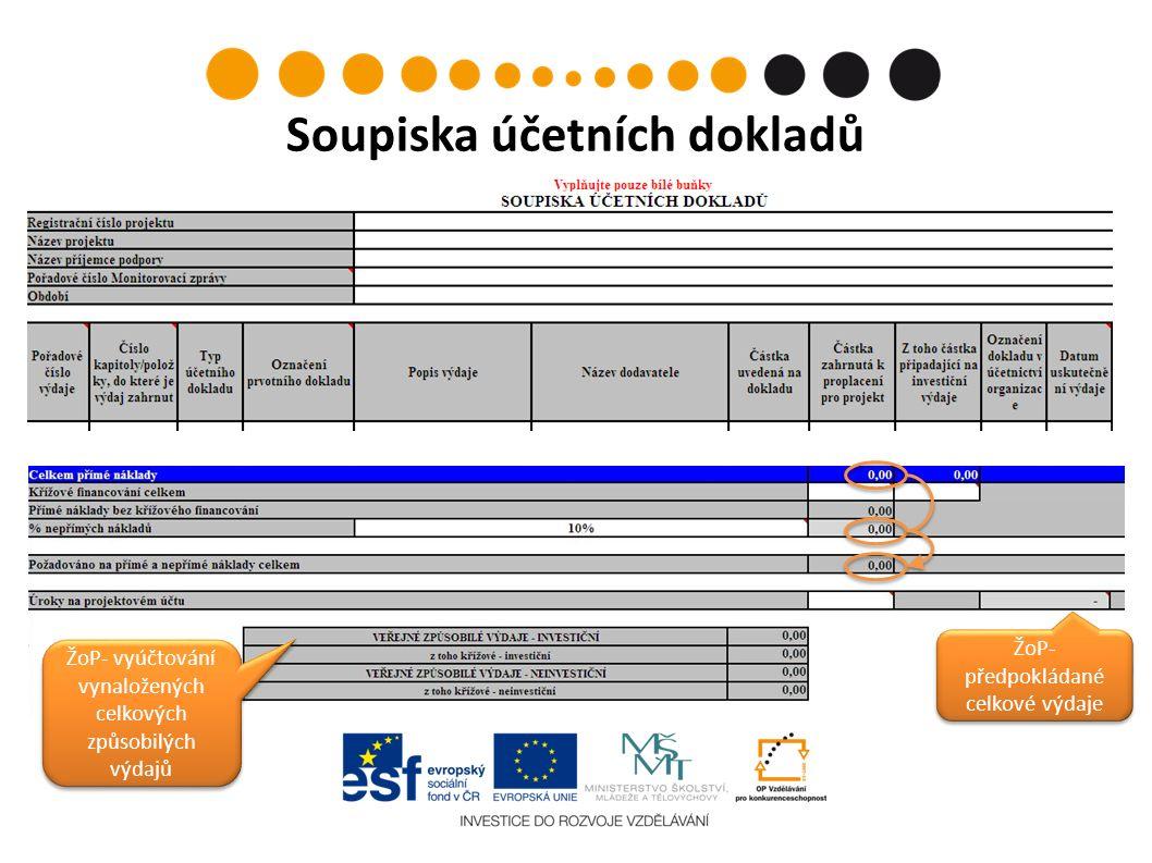 ŽoP- předpokládané celkové výdaje ŽoP- vyúčtování vynaložených celkových způsobilých výdajů