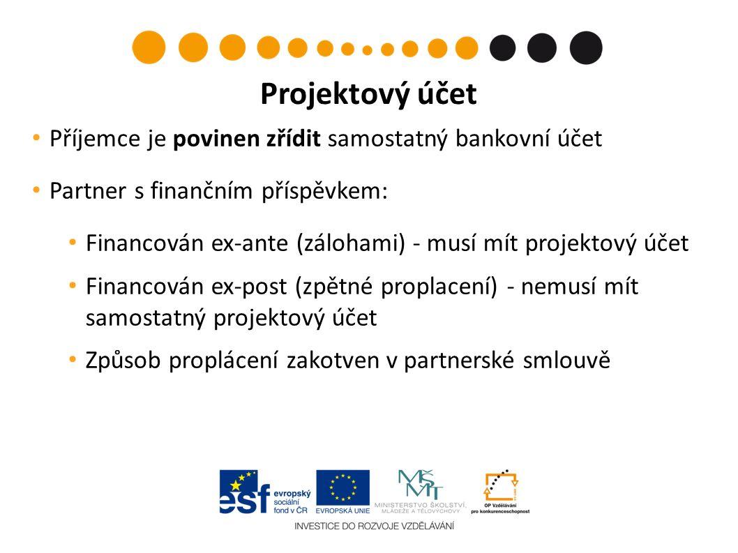Příjemce je povinen zřídit samostatný bankovní účet Partner s finančním příspěvkem: Financován ex-ante (zálohami) - musí mít projektový účet Financován ex-post (zpětné proplacení) - nemusí mít samostatný projektový účet Způsob proplácení zakotven v partnerské smlouvě Projektový účet