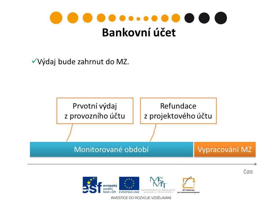 Monitorované období Vypracování MZ Prvotní výdaj z provozního účtu čas Bankovní účet Refundace z projektového účtu Výdaj bude zahrnut do MZ.