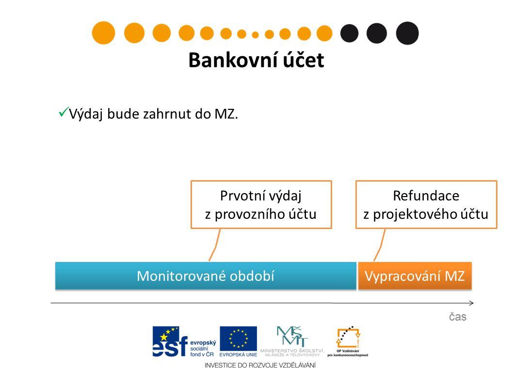 Prvotní výdaj z provozního účtu čas Bankovní účet Refundace z projektového účtu Vypracování MZ Výdaj bude zahrnut do MZ. Monitorované období