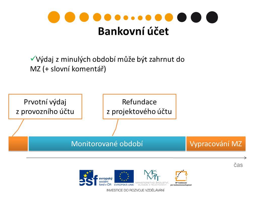 Prvotní výdaj z provozního účtu čas Bankovní účet Refundace z projektového účtu Vypracování MZ Výdaj z minulých období může být zahrnut do MZ (+ slovní komentář) Monitorované období