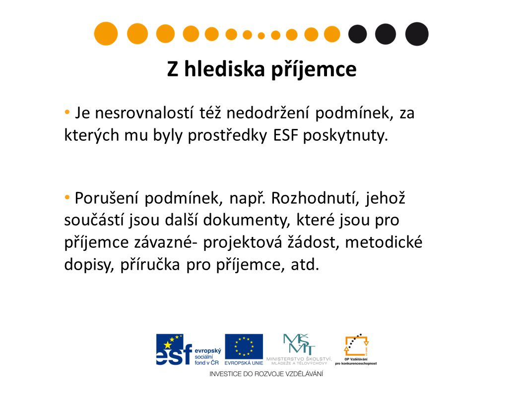 Je nesrovnalostí též nedodržení podmínek, za kterých mu byly prostředky ESF poskytnuty.