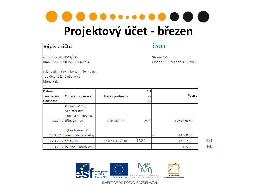 Projektový účet - březen
