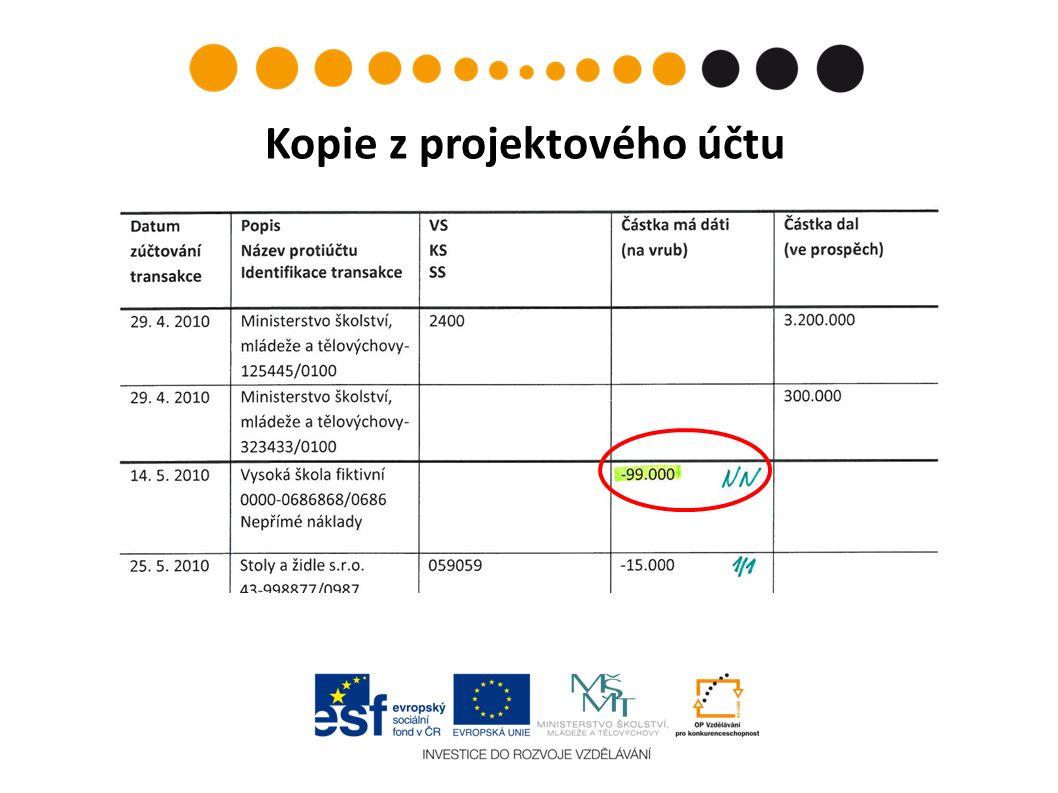 Kopie z projektového účtu