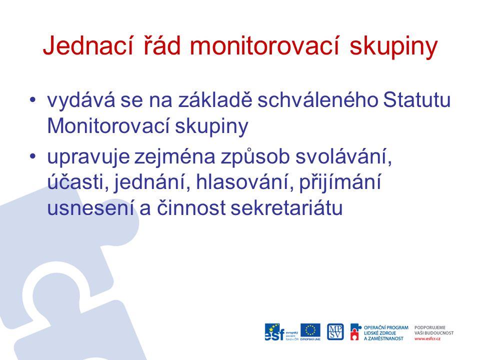 Jednací řád monitorovací skupiny vydává se na základě schváleného Statutu Monitorovací skupiny upravuje zejména způsob svolávání, účasti, jednání, hlasování, přijímání usnesení a činnost sekretariátu