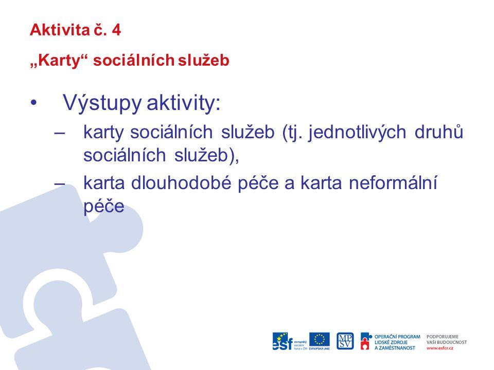"""Aktivita č. 4 """"Karty sociálních služeb Výstupy aktivity: –karty sociálních služeb (tj."""