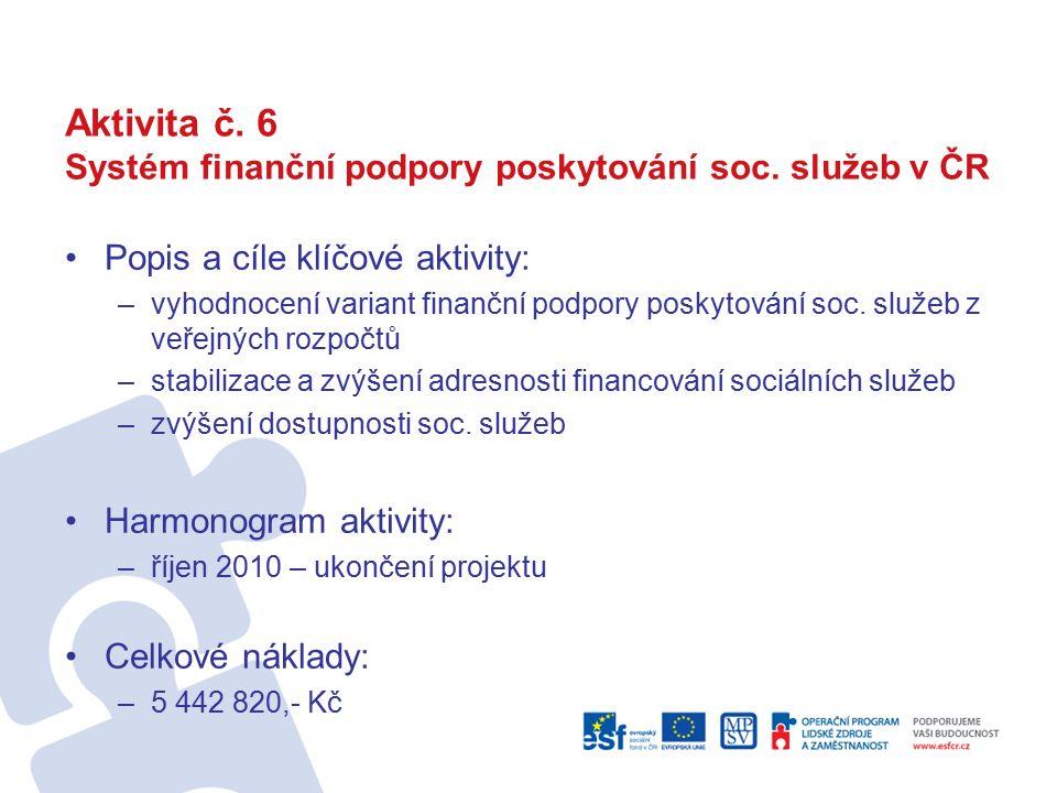 Aktivita č. 6 Systém finanční podpory poskytování soc.