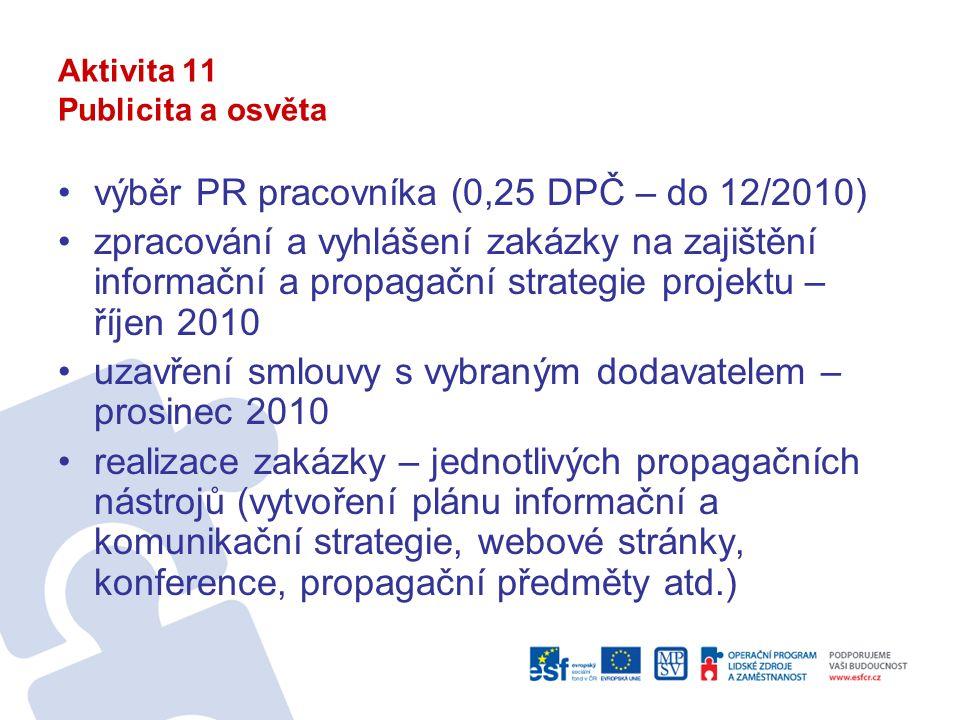 Aktivita 11 Publicita a osvěta výběr PR pracovníka (0,25 DPČ – do 12/2010) zpracování a vyhlášení zakázky na zajištění informační a propagační strategie projektu – říjen 2010 uzavření smlouvy s vybraným dodavatelem – prosinec 2010 realizace zakázky – jednotlivých propagačních nástrojů (vytvoření plánu informační a komunikační strategie, webové stránky, konference, propagační předměty atd.)