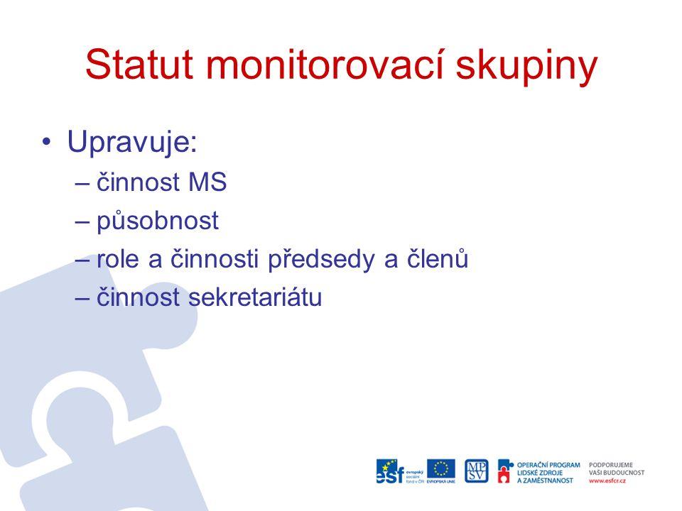 Statut monitorovací skupiny Upravuje: –činnost MS –působnost –role a činnosti předsedy a členů –činnost sekretariátu