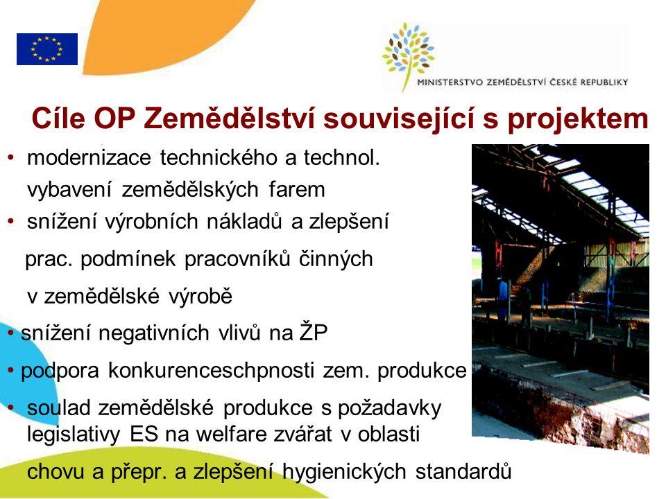 Cíle OP Zemědělství související s projektem modernizace technického a technol.