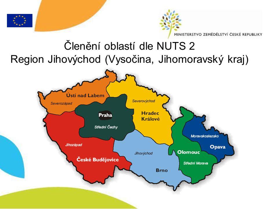Členění oblastí dle NUTS 2 Region Jihovýchod (Vysočina, Jihomoravský kraj)
