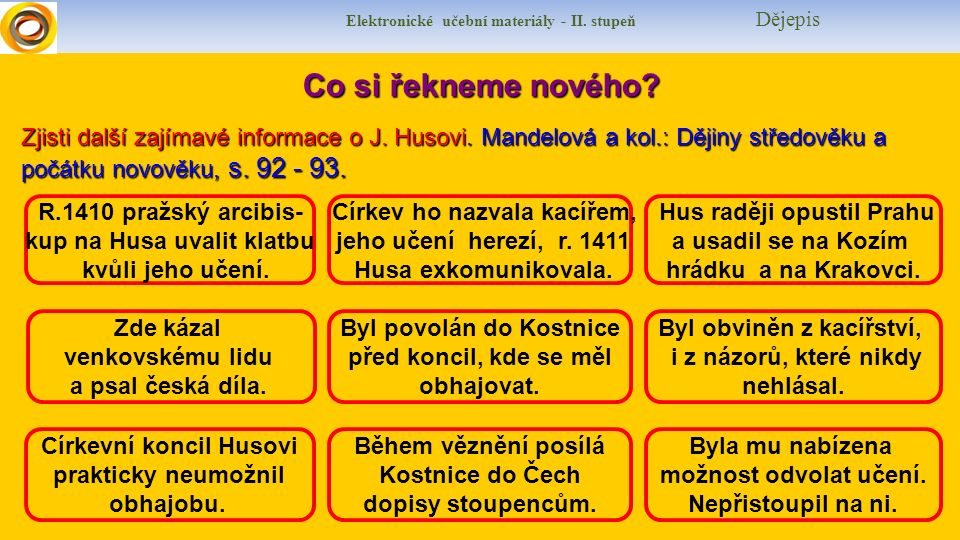 Elektronické učební materiály - II. stupeň Dějepis Co si řekneme nového? R.1410 pražský arcibis- kup na Husa uvalit klatbu kvůli jeho učení. Církev ho