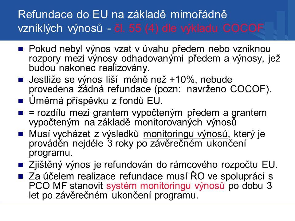 Refundace do EU na základě mimořádně vzniklých výnosů - čl.