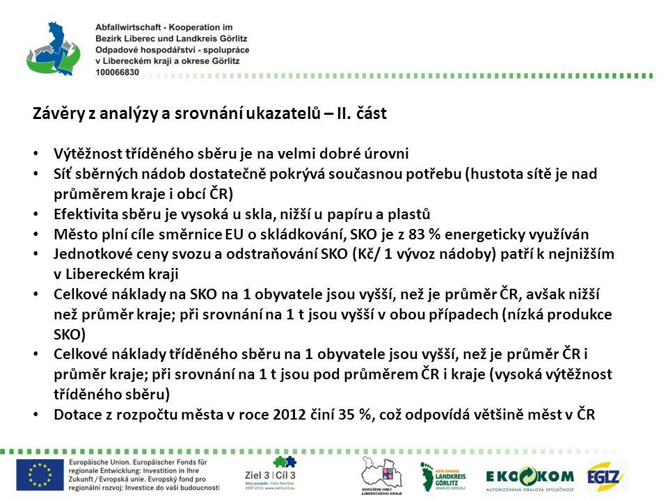 Závěry z analýzy a srovnání ukazatelů – II.