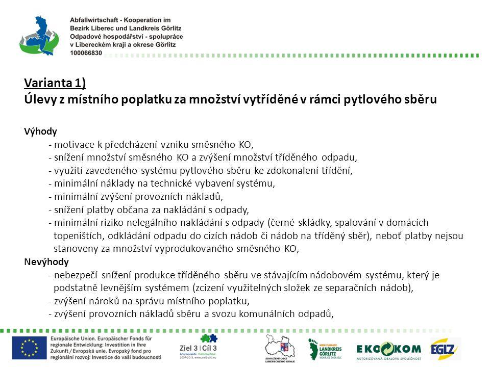 Varianta 1) Úlevy z místního poplatku za množství vytříděné v rámci pytlového sběru Výhody - motivace k předcházení vzniku směsného KO, - snížení množ